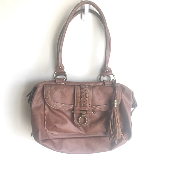 Chaps Handbags - Chaps Brown Bag Purse Horse Bit Brass Clasp